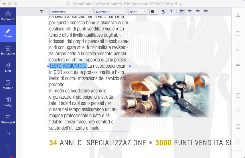 modifica testo pdf mac